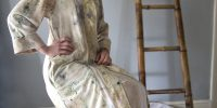 Raw silk long jacket dyed with plants