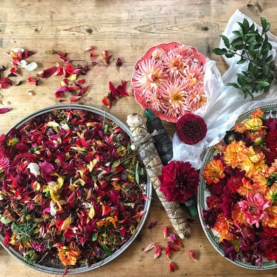 Flowers and petals in bowls.